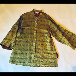 Jackets & Blazers - Asian jacket dolman sleeves green and gold XL